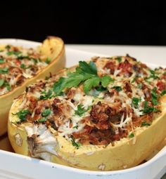 From the Ashley, Etc. Blog: Stuffed Spaghetti Squash. Vegetarian-friendly (or vegan friendly if you leave off the cheese), and SO delicious.