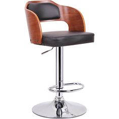 Sitka Walnut and Black Modern Bar Stool | Overstock.com Shopping - Great Deals on Bar Stools