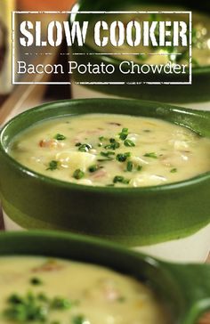 Slow Cooker Bacon Potato Chowder - This hearty and flavorful soup is so easy to make...simply mix the ingredients in a slow cooker and let it do the work for you. And to make it even better, stir in Cheddar just before serving and top with a sprinkle of chives.