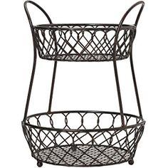 Gourmet Basics by Mikasa Loop And Lattice 2-Tier Metal Basket, Antique Black