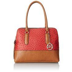 Emilie M. Linda Red Faux Ostrich Satchel Handbag Purse Large. REF 6159/L.