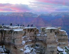 Visiting the Grand Canyon During Winter | Viewing canyon sunset from Mather Point in winter
