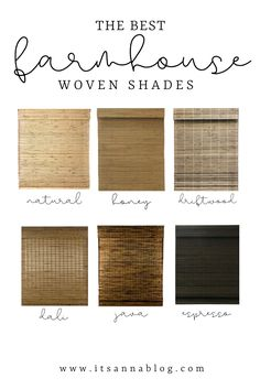 Farmhouse Window Treatments, Window Treatments Living Room, Bedroom Window Coverings, Woven Wood Shades, Bamboo Shades, Woven Blinds, Farmhouse Windows, Farmhouse Curtains, Roller Shades