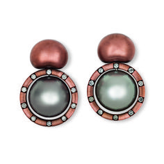 Hemmerle earrings with diamonds, pearls set in copper and white gold Photo courtesy of Hemmerle