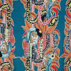 2e31ce5ad Vtg 80's Hilo Hattie Hawaiian Shirt Medium Teal Blue Wahine Girls Leis Mens  USA Leis,