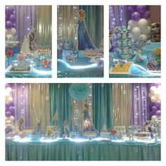 Frozen Party Decorations with lights Disney Frozen Birthday, Frozen Birthday Party, 3rd Birthday Parties, Birthday Ideas, Princesse Party, Frozen Party Decorations, Winter Wonderland Party, Easter Party, Party Themes