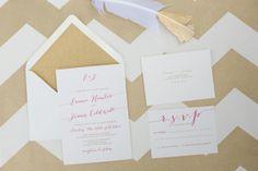 Gorgeous gold and fuchsia wedding invitations by @Crafty Pie Press