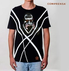 """Black cotton T-shirt from Com-Prensa featuring a round neck, short sleeves and a print to the front """" Papua New Guinea Warrior""""  #manufacturer #barcelos #sweat #colours #tshirt #cotton #comprensa #fashion #model #fashion #design #company #textile #portugal #sublimation #screenprinting #digitalprint #laser #photoprint"""