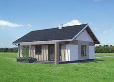 Projekt TMA-565: #ekonomiczny, #parterowy budynek z układem pomieszczeń zaplanowanym z myślą o czteroosobowej rodzinie. Murowana #bryła obiektu jest bardzo prosta, przekryta dwuspadowym, symetrycznym dachem. Modern Brick House, Small House Exteriors, Future House, My House, Home Structure, Concept Home, Small House Plans, Home Photo, Prefab
