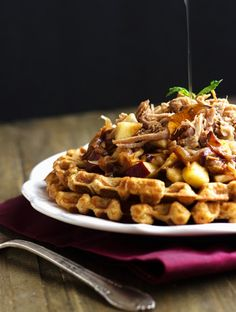 Skinnier Cornbread Waffles With Pulled Pork And Maple Apple Chutney - You would never know this is whole wheat and better for you!   Foodfaithfitness.com   @FoodFaithFit