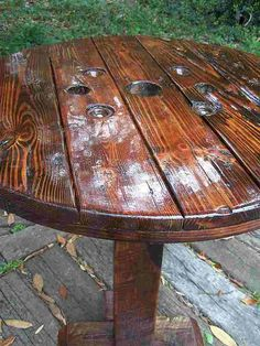 Pub Style Table from Recycled, Reclaimed, Repurposed Materials Repurposed Furniture, Pallet Furniture, Furniture Ideas, Antique Furniture, Metal Furniture, Pub Style Table, Wooden Plane, Art Supply Stores, Wooden Spools