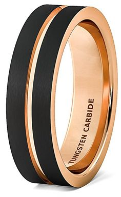 Mens Wedding Band Brushed Black Tungsten Ring 6mm Rose Gold Groove Flat Edge Comfort Fit (10.5)