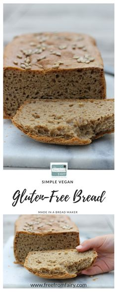 Super easy #glutenfree bread recipe for a breadmaker. This bread is suitable for #vegans too because it is #eggfree and #dairyfree too. It's made with the Free From Fairy's wholegrain glutenfree flour blend.