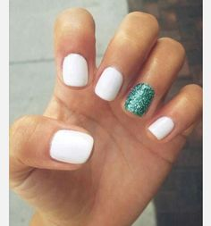 Really cute white and blue glitter nails