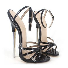 Are these 6 inch wonder-heels impossibly sexy or just impossible? Made for wearing but not necessarily walking, these strappy 6 inch heels have no platform. Extreme High Heels, Platform High Heels, Black High Heels, High Heels Stilettos, Stiletto Heels, Shoes Heels, Talons Sexy, Beautiful High Heels, Prom Heels