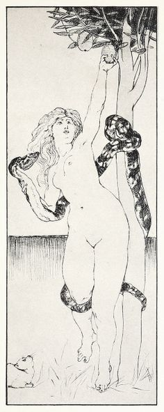 Evas Sündenfall (The fall of Eve) From Zeichnungen von Max Klinger (Drawings by Max Klinger), Leipzig, 1912