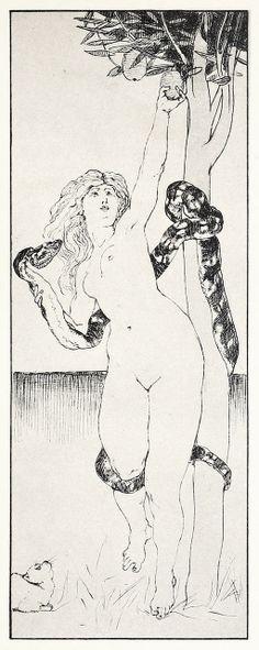 Evas Sündenfall (The fall of Eve) From Zeichnungen von Max Klinger (Drawings by Max Klinger), Leipzig, 1912