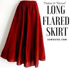 Jun 2019 - This is a sewing pattern to make a very flared long skirt with an elastic waist, which is Free Size. Make one and most anybody in your family can Free Sewing Pattern and step by step instructions to sew a Free size Long flared skirt Skirt Patterns Sewing, Sewing Patterns Free, Free Sewing, Clothing Patterns, Pattern Sewing, Skirt Sewing, Long Skirt Patterns, Simple Skirt Pattern, Sewing Coat