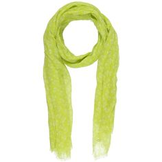 Pyaar Scarf ($79) ❤ liked on Polyvore featuring accessories, scarves, acid green, logo scarves, floral shawl, gauze scarves, green scarves and floral print scarves