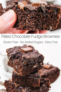 Paleo Chocolate Fudge brownies are melt in your mouth delicious. They are moist and the melted chocolate chips in the middle provide the perfect smooth chocolate touch. Gluten Free Treats, Paleo Treats, Gluten Free Baking, Dairy Free Recipes, Healthy Baking, Yummy Treats, Paleo Recipes, Chocolate Fudge Brownies, Paleo Chocolate
