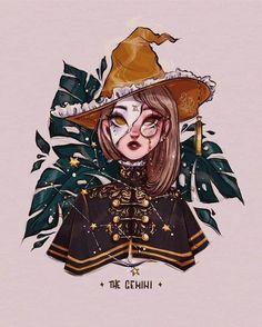 Cool Art Drawings, Art Drawings Sketches, Zodiac Art, Zodiac Signs, Gemini Art, Witch Drawing, Arte Sketchbook, Witch Art, Cartoon Art Styles