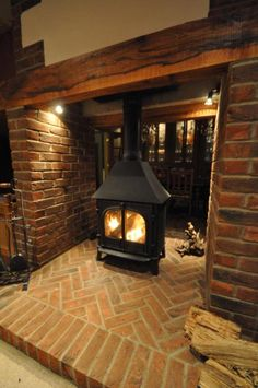 Stovax Stockton 8 Double sided stove Home Fireplace, Modern Cabin, Double Sided Stove, Cottage Fireplace, Double Sided Fireplace, Fireplace Hearth, Brick Fireplace, Inglenook Fireplace, Wood Stove