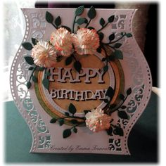 Floral birthday card, using spellbinders curved border dies, prima zephyr papers