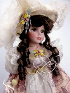 "COLLECTIBLE PORCELAIN VICTORIAN DOLL ""VICTORIA "" 16""H"