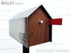 Bailey Modern Mailbox - Stainless Steel + Teak