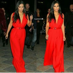 Kim kardashian west while vacay in armenia, wearing a red jumpsuit
