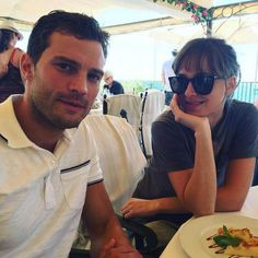 Jamie Dornan and Dakota Johnson having food...