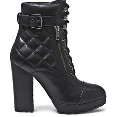 Steve Madden Women's Rachele Boots ($130) ❤ liked on Polyvore featuring shoes, boots, black leather, black quilted boots, black platform boots, platform ankle boots, black high heel boots and faux leather boots