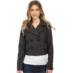 dollhouse Double Breasted Notch Collar Crop Jacket Women's Coat, Gray ($21) ❤ liked on Polyvore featuring outerwear, coats, grey, plaid coat, dollhouse coats, double breasted coat, long sleeve coat and cropped coat