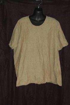"Flax Jeanne Englehart Sz L 100 Linen ""Tee"" Indian Corn Short Sleeve 2001 | eBay"