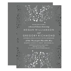 Baby's breath engagement party invitation full silver - platinum design (regular ink not actual foil) Color: grey/silver. Fuchsia Wedding Invitations, Grey Wedding Stationery, Grey Wedding Decor, Engagement Party Invitations, Bridal Shower Invitations, Custom Invitations, Wedding Ideas, Wedding Inspiration, Blue Wedding
