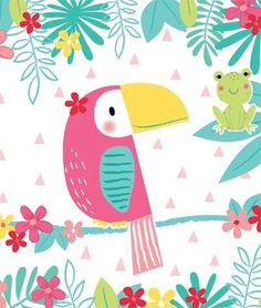print pattern: PP DIRECTORY - jessica philpott. Illustration of a colorful tropical bird. Bird Illustration, Pattern Illustration, Illustration Children, Character Illustration, Baby Wallpaper, Pattern Wallpaper, Bird Drawings, Cute Drawings, Bird Patterns