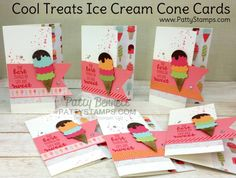 The best things in life are sweet! These adorable Cool Treats Ice Cream cone cards are definitely sweet! I made these with the Cool Treat Suite products on pages 32 and 33 in the 2017 Stampin' UP!