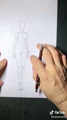Fashion Model Sketch, Fashion Design Sketchbook, Fashion Design Portfolio, Fashion Design Drawings, Fashion Sketches, Fashion Drawing Tutorial, Fashion Figure Drawing, Drawing Fashion, Pencil Sketches Of Girls
