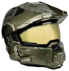 Spartans always think with their head and put safety first. Don't even think about getting on a motorcycle while wearing a Master Chief helmet unless it's this DOT-approved Master Chief replica motorcycle helmet, complete with battle-wear paint job.