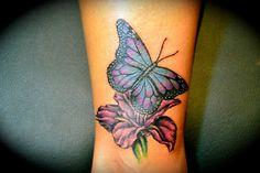 I love this!! Flower and Butterfly Wrist Tattoo – Hawaiian Flower Tattoos Designs