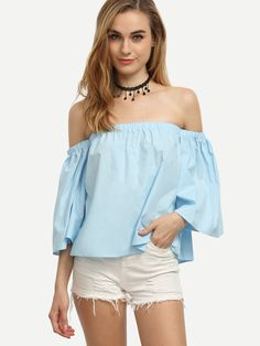 Shop Baby Blue Elastic Off The Shoulder Top online. SheIn offers Baby Blue Elastic Off The Shoulder Top & more to fit your fashionable needs.
