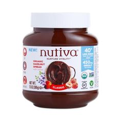 Nutiva Classic Hazelnut Spread www.theteelieblog.com From the coconut oil masters comes organic and vegan chocolate hazelnut spread that will transform your smoothies, toast, and fruit salads with every spoonful! This decadent treat has 40% less sugar than the leading brand, and boasts 450mg omega-3 and 5g of dietary fiber per serving. #thrivemarket
