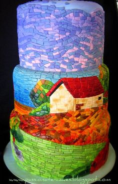 Mosaic Cake design by Lynn Moor Mosaic Art Gorgeous Cakes, Pretty Cakes, Cute Cakes, Amazing Cakes, Crazy Cakes, Fancy Cakes, Unique Wedding Cakes, Unique Cakes, Creative Cakes