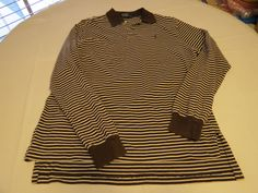Polo by Ralph Lauren Men's long sleeve polo shirt L brown striped cotton GUC@ #PolobyRalphLauren #PoloRugby