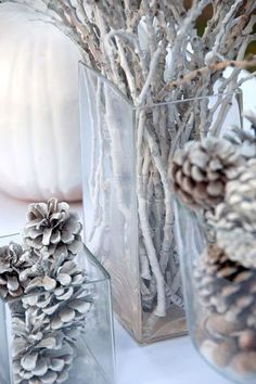 Keep that silver paint coming and craft some Christmasy centerpieces.