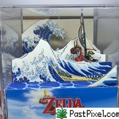 inspired by The Legend of Zelda Game Boy Advance. Handmade with hard cardboard, with high-quality digital printing and hand-cut photographic prints. All mounted on a hand-mounted transparent Acrylic cube. Diy Zelda Crafts, Zelda Birthday, 150 Pokemon, Wooden Board Games, Video Games Funny, Wind Waker, Star Citizen, Game Boy, Art Store