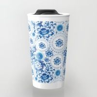 Travel Mug featuring Vintage shabby Chic pattern with blue flowers and leaves by EkaterinaP