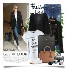 """Gigi Hadid - Celebrity Airport Style"" by yexyka ❤ liked on Polyvore featuring Dolce&Gabbana, MICHAEL Michael Kors, NIKE, Sheinside, shein and celebairportstyle"