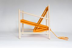 Using rope to incorporate textile techniques at a magnified scale, this piece celebrates the joinery of soft and hard materials. The seat and back support for this lounge chair are created from one continuous piece of orange rope, wrapped over a wooden dowel rod structure.                     …