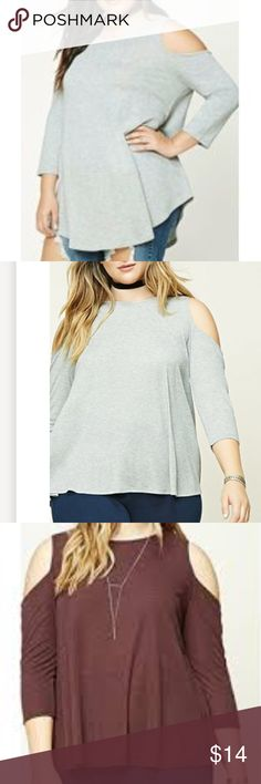 NWT Forever21 Heather Gray Cold Shoulder Tunic 3x Brand new!!  3x, ordered online in the wrong size.  Currently sold out.  Tags still attached, flowy, cold Shoulder Tunic.  It is Gray, the maroon Top pictured is the same cut and is just to show fit. Forever 21 Tops Blouses